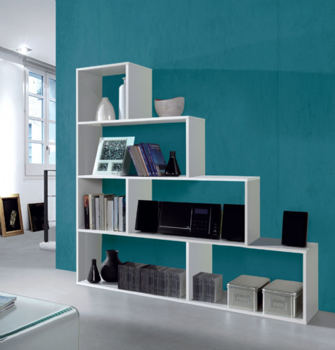 Step Bookcase White Gloss Lounge Furniture - 2600